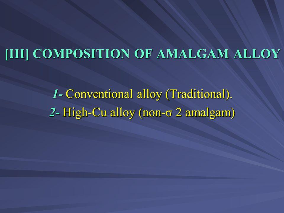 [III] COMPOSITION OF AMALGAM ALLOY